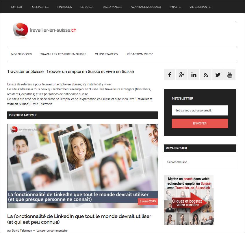 Le site Travailler-en-Suisse.ch
